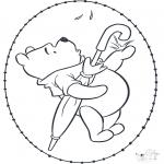 Basteln Stickkarten - Pu der Bär Stickkarte 2