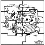 Malvorlagen Basteln - Puzzle Cars kostenlos