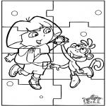 Malvorlagen Basteln - Puzzle Dora
