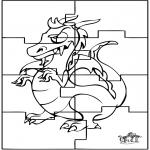 Malvorlagen Basteln - Puzzle Drache