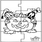 Malvorlagen Basteln - Puzzle Halloween