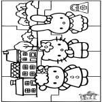 Malvorlagen Basteln - Puzzle Hello Kitty