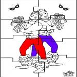 Malvorlagen Basteln - Puzzle Karneval