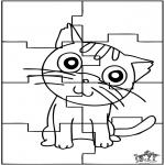 Malvorlagen Basteln - Puzzle Katze