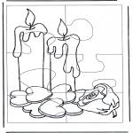 Malvorlagen Basteln - Puzzle Kerzen