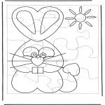 Malvorlagen Basteln - Puzzle Osterhase