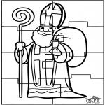Basteln Stechkarten - Puzzle Sankt Nikolaus 2
