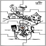 Malvorlagen Basteln - Puzzle Schneemann