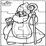 Basteln Stechkarten - Puzzle Sint 1