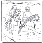 Ausmalbilder Tiere - Reiten 1