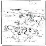 Ausmalbilder Tiere - Reiten 2