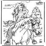 Ausmalbilder Tiere - Reiten 4