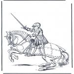 Allerhand Ausmalbilder - Ritter auf Pferd
