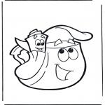 Ausmalbilder für Kinder - Rucksack und Karte