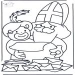Basteln Stechkarten - Sankt Nikolaus liest Wunschzettel