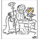 Basteln Stechkarten - Sankt Nikolaus - Malvorlagen 3