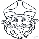 Basteln Stechkarten - Sankt Nikolaus Maske