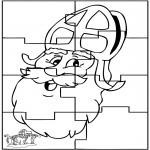 Basteln Stechkarten - Sankt Nikolaus puzzle