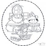 Basteln Stechkarten - Sankt Nikolaus Stickkarte 1