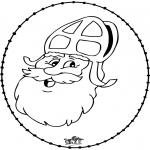 Basteln Stechkarten - Sankt Nikolaus Stickkarte 10