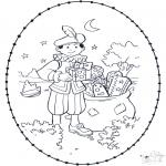 Basteln Stechkarten - Sankt Nikolaus Stickkarte 2