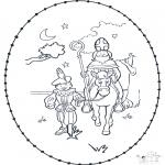 Basteln Stechkarten - Sankt Nikolaus Stickkarte 3