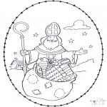 Basteln Stickkarten - Sankt Nikolaus Stickkarte 4