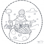 Basteln Stechkarten - Sankt Nikolaus Stickkarte 4