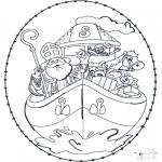 Basteln Stechkarten - Sankt Nikolaus Stickkarte 5
