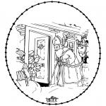 Basteln Stechkarten - Sankt Nikolaus Stickkarte 6