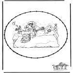 Basteln Stechkarten - Sankt Nikolaus Stickkarte 7