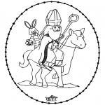 Basteln Stechkarten - Sankt Nikolaus Stickkarte 8