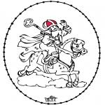 Basteln Stechkarten - Sankt Nikolaus Stickkarte 9