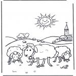 Ausmalbilder Tiere - Schafe in der Sonne