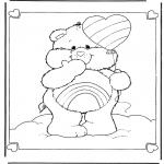 Ausmalbilder für Kinder - Schaukelbärchen Regenbogen