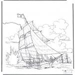 Allerhand Ausmalbilder - Schiff im Kampf