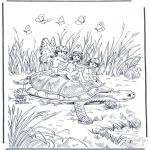 Ausmalbilder Tiere - Schildkröte und Elfen