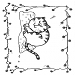 Ausmalbilder Tiere - Schlafende Katze