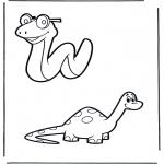 Ausmalbilder Tiere - Schlange und Dino