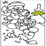 Malvorlagen Winter - Schlitten 2