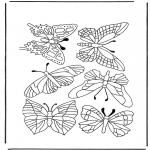 Ausmalbilder Tiere - Schmetterlinge 1