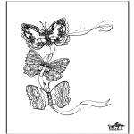 Ausmalbilder Tiere - Schmetterlinge 3