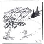 Malvorlagen Winter - Schnee in Yellowstone 2