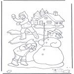 Malvorlagen Winter - Schneeball Kampf