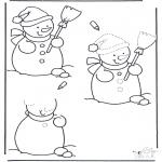 Malvorlagen Winter - Schneemann fertig malen