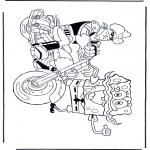 Ausmalbilder für Kinder - Schwammkopf auf Motorrad