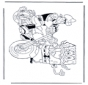 Schwammkopf auf Motorrad