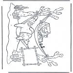 Ausmalbilder für Kinder - Schwammkopf in Hängematte