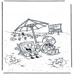 Ausmalbilder für Kinder - Schwammkopf und Sandy