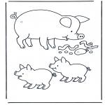 Ausmalbilder Tiere - Schwein